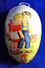 Vintage East German Paper Mache Lithographed Easter Egg Candy Container Egg Hunt