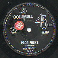 """RICK AND THEL CAREY   Rare 1965 Aust Promo Only 7"""" OOP Folk Single """"Poor Folks"""""""
