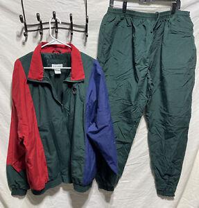VTG IZOD Green Track Jacket Pants Joggers Nylon Mesh Lining Wind Hiking XL Green