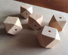 5 x Large Unfinished Wooden Geometric Beads 30mm - Natural Craft Faceted Polygon