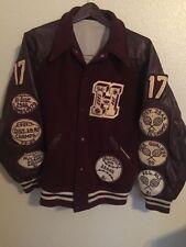 Vintage High School Varsity Letterman Jacket Maroon White Wool Letters 80's