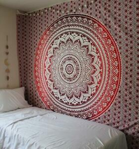 Mandala Tapestry Omber Print Indian Wall Hanging Decor Queen Size Bedspread