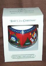 "Hallmark  /""Baby/'s 2nd Christmas/"" 1983 QX226-7 Unbreakable Satin   Mint In Box"