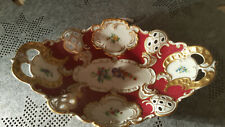 Dresden- alte Anbietschale oval - Pur Pur Goldrand mit Blumenmalerei wunderschön