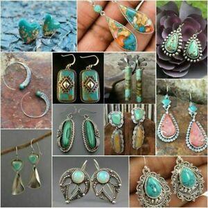 Vintage Turquoise 925 Silver Earrings Ear Hook Women Wedding Dangle Drop Jewelry