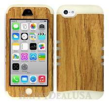 For Apple iPhone 5c KoolKase Hybrid Armor Silicone Cover Case - Wood Grain Light