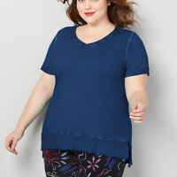New! AVENUE Plus Size Blue Washed Dye French Terry Short Sleeve V-Neck Top