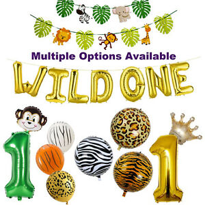 Wild One Party Decorations, Wild One Birthday Balloons,Jungle Theme Party Banner