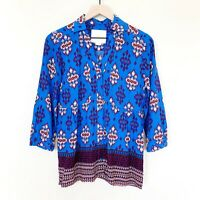 ANTHROPOLOGIE MAEVE Women's Top Size 4 Woodland Walk Button Up Blouse Blue NWOT
