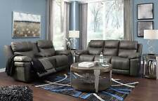 NEW Living Room Furniture Gray Leatherette Power Reclining Sofa Loveseat Set F0N