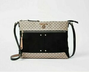 RIVER ISLAND Black pocket front messenger cross body bag new with tag