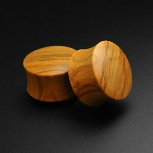 Wooden Ear Gauges Plugs Olive Wood Double Flare Convex Plug SIBJ Quality