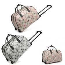 Ladies Check Weekend Bag Flower Trolley Holdall Hand Luggage Holiday Handbag M20
