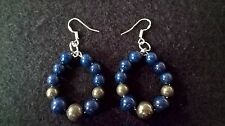 Lapis Lazuli Earrings 925 Sterling Silver Hooks Iron Pyrite Healing Chakra Boho
