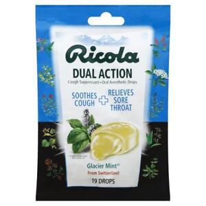 Ricola Dual Action Cough Suppressant Drops Glacier Mint 19 Drops