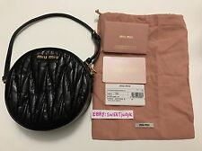 Authentic Miu Miu Matelasse Black Twisted Leather Wristlet mini small bag clutch