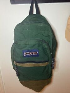 Vintage 90s Jansport Green Backpack Suede Leather Bottom MADE IN USA