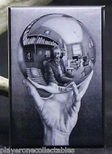 "M. C. Escher - Hand Reflecting Sphere 2"" X 3"" Fridge Magnet."