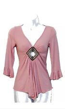 LIGHT PINK 3/4 SLEEVE CUT OUT BEADED TOP SIZE XS/S