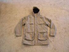 Men's Woolrich Longer Jacket Hooded Cotton/Nylon 85% Wool Liner Khaki Medium