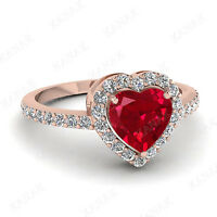 1.35 Ct Heart Shape Red Ruby & Cubic Zirconia Halo Engagement Ring 10K Rose Gold
