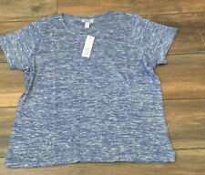 Croft & Barrow Short Sleeve Light Weight SNIT Top Embellished Blue Heather
