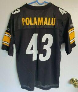 Troy Polamalu Pittsburgh Steelers Team Apparel Reebok Boys Black Jersey L 14-16