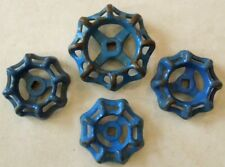 4  BLUE VINTAGE STEAMPUNK CAST IRON WATER VALVE HANDLES