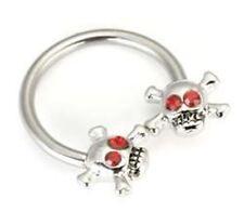 """Horseshoe Nipple Ear 14 Gauge 1/2"""" w/Skull Bones Red Eyes 5mm Steel Body Jewelry"""