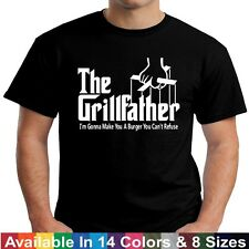 GRILLFATHER  Funny Fathers Day BBQ Barbecue Grill Dad Grandpa Gift Tee T Shirt
