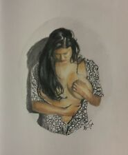 Framed Original 8x10 color pencil drawing of exotic middle eastern woman