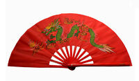 "13""Chinese Kung Fu Tai Chi Wushu martial art Performing Alone Dragon Fan red"