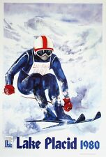 Original Vintage Poster Lake Placid Skiier Gallucci Winter Olympics 1980