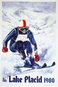 Original Vintage Poster Lake Placid Skiier Gallucci Winter Olympics 1980