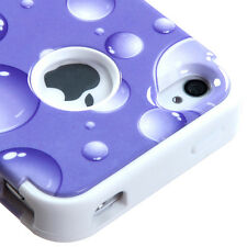 for iPhone 4 4G 4S Purple White Bubbles Dual Layer Hard & Soft Rubber Case Cover