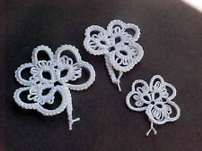 Unique 6 White Shamrocks Lg, Med & Sm New Tatted By Dove Country Tatting