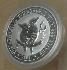 Australie 2001 argent BU UNC 1 oz (environ 28.35 g) $1 Kookaburra monnaie