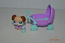 Littlest Pet Shop~#143~Baby Boxer~Dog~Beige Brown~Blue Eyes~Buggy~Bottle~Cape