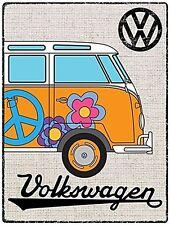 Volkswagen Camper Orange Hippie In Hessian Style metal sign 400mm x 300mm   (rh)