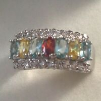 Antique Jewellery White Gold Ring Multi Gemstones Vintage Art Deco Jewelry 10 U