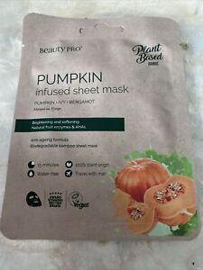 BEAUTY PRO PUMPKIN Infused Face Sheet Mask Vegan Plant Based 22ml New
