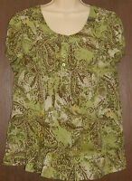 Apt. 9 Blouse Size XL Green Floral Paisley Flowers Short Sleeve Scoop Neck