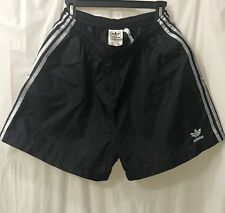 ADIDAS BLACK SILVER STRIPED NYLON SPRINTER RUNNING SHORTS MENS XL