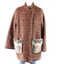 DIXIE VESTE M 38 Art Fourrure Rayé avec laine vierge Manteau court NP 190 NEUF