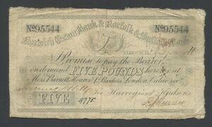 ENGLAND Norwich Crown Norfolk & Suffolk £5  1866  Provincial