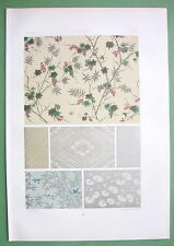 JAPAN Wallpaper Patterns Plants Abstract - COLOR Litho Print by Racinet