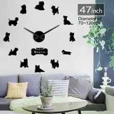 Large Dog Wall Clock Black Silver Westie West Highland White Terrier Love Mirror