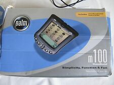 VINTAGE WORKING PALM PILOT M-100 W/ CASE, DISK, MANUAL, HOTSYNC CABLE, ORG. BOX
