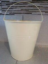 ZINC METAL BUCKET - 24cm Tin Container Storage Flower Pot Planter-cream