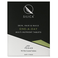 QSilica Skin Hair and Nail ONE-A-DAY (90 Tablets) VEGAN Colloidal Silica